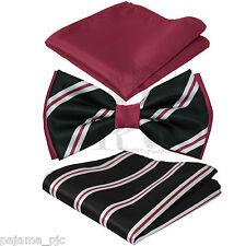New Men's Stripes Design Pre-Tied Bowtie or w/ Hanky Set Apple Red Black White