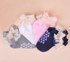 NUEVO niña ENCAJE CON VOLANTES Bautizo Calcetines en Blanco Rosa Azul Oscuro