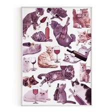 Cats with Wine Poster | Original Cat Art Print | Funny Cat Wall Decor