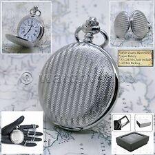 Numbers Dial with Chain Box P150 Silver Pocket Watch Quartz Men Fashion Roman