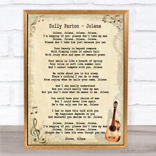 Dolly Parton Jolene CHANSON LYRIQUE Vintage Citation Imprimé
