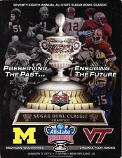 2012 Sugar Bowl Program Michigan Wolverines vs Virginia Tech Hokies