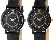 EXCELLANC Damen Armbanduhr in Schwarz, Ziffern in Silber oder Gold wählbar