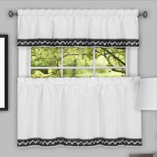 Camden Macrame Trimmed Black & White Kitchen Window Curtain Tiers or Valance