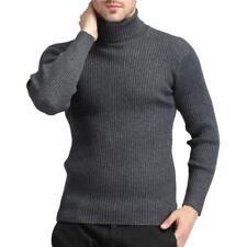 Men Slim Fit Pullover Tops Cashmere Blend Knitted Sweater Long Sleeve Turtleneck