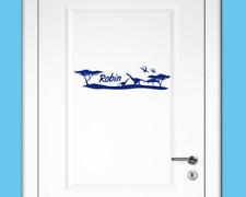 Tür Aufkleber 4 Dinos mit Name Wandtattoo Kinderzimmer  25 Farben 40 x 10cm
