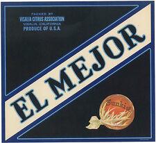 "*Original* EL MEJOR ""The Best"" Visalia TYPOGRAPHY Orange Crate Label NOT A COPY!"