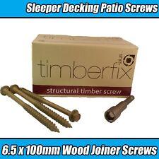 6.5mm x 100mm TIMBER LOCK TIMBERFIX STRUCTUAL GARDEN DECKING WOOD HEX SCREWS