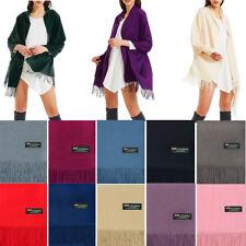 Women Oversize Poncho Blanket 100% Cashmere Scarf Shawl Wrap Solid Scotland Wool
