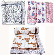 Baby Quilt Blanket Cotton Fabric Handmade Bedspread Indian Hand Block Bedding
