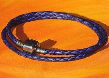 Purple double-wrap leather & steel European charm bracelet by Lyme Bay Art