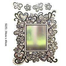 Sala de bricolaje decoración Auto Adhesivo De Vinilo Espejo pegatinas Mariposa Corazón Rosa Negro Reino Unido