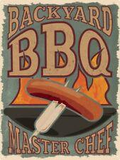Backyard BBQ Master Chef Tin Sign 30.5x40.7cm