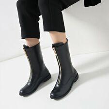 Sexy Women Round Toe Front Zip Low Heels Mid Calf Boots Punk Retro Clubwear Shoe