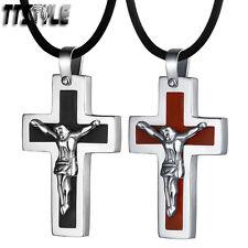 TTstyle Stainless Steel Jesus Cross Pendant Free Chain Black/Wood NEW