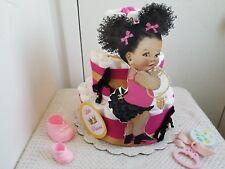 Hot Pink Black & Gold Little Princess Diaper Cake Baby Shower Gift Centerpiece