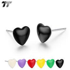 TT Clear Epoxy Stainless Steel Love Heart Stud Earrings (EC77) NEW