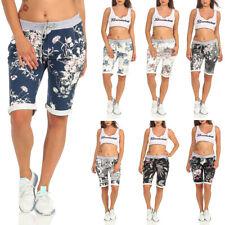 Damen Bermuda Shorts Hose Capri kurze Chino Sommer Stoffhose Fitness Jogging 30