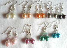 Dangle earrings - Glass pearl + crystal - choice 9 colours