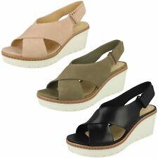 Ladies Clarks Slingback Wedge Heeled Hook & Loop Leather Sandals Palm Candid