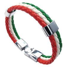 pulsera joyeria, brazalete bandera italiana, aleacion cuero, para hombres muG2U4