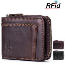 Mens RFID Genuine Leather Wallet  Blocking Secure Vintage 13 Card Slots Purses