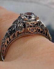 CZ Gem Sterling Silver Edwardian-Deco Love Wedding Filigree Ring {Made To Order}