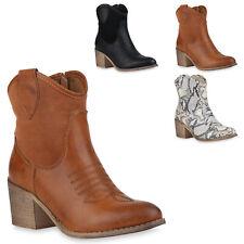 Damen Cowboy Boots Western Stiefeletten Cowboystiefel 830055 Trendy Neu