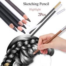 2pcs Professional White Art Sketching Pencils Sketch Drawing Charcoal Pencil Set