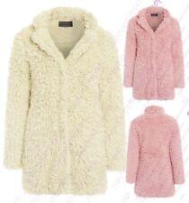 Womens Teddy Faux Fur Coat Pink Cream Long Jacket Size 8 10 12 14 16