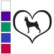 Love Basenji Dog Heart Decal Sticker Choose Color + Large Size #lg1420