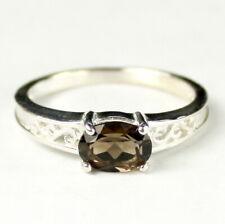 • R362-WG, 1 carat Smoky Quartz, 10k White Gold Ladies Ring - Handmade
