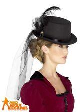 Ladies Deluxe Victorian Top Hat Temptress Halloween Fancy Dress Accessory Womens