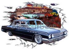 1962 Black Buick 4 door Custom Hot Rod Diner T-Shirt 62 Muscle Car Tee's