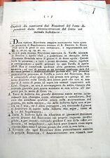 1808 STATUTO DELLE ESTRAZIONI DEL LOTTO DURANTE L'IMPERO NAPOLEONICO IN ITALIA