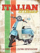 ITALIAN EL CLASICO SCOOTER - VESPA LAMBRETTA METAL PLAQUE TIN SIGN NOSTALGIC 914