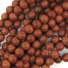 """Goldstone Round Beads Gemstone 15"""" Strand 2mm 3mm 4mm 6mm 8mm 10mm 12mm"""