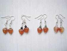 CARNELIAN HEART Gemstone Bead Drop Earrings Moonstone Onyx Moss Agate HEALING