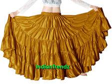 Golden Satin 25 Yard 5 Tiered Gypsy Skirt Belly Dance Tribal Jupe Flamenco