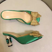 Ladies Bowknot Rhinestone Shiny Block Heels Open Toe Casual Silk Slippers Mules