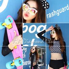 Korean Style Women Polka Dot Long Sleeves Bikini Set Rashguard Swimsuit Swimwear