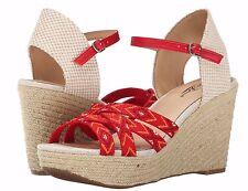 Lucky Brand Mahima Red-Multi Aztec Print Espadrille Platform Wedge Sandal - $99