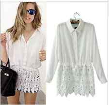 Chiffon Cotton Lace Button Up Blouse Festival Top Shirt Work Classic Elegant