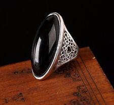New, Vintage Design, Natural Big Oval Black Agate Stone, Ladies Ring, Size 7,8,9