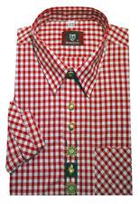 Freizeit Trachten Wander Hemd rot weiß +Stick Krempelarm OS-103 Regular M - 6XL