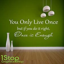 Usted se vive una vez Ala Pared Adhesivo citar-Dormitorio Casa de arte de pared calcomanía X315