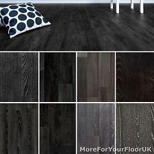 Black Wood Plank Vinyl Flooring Realistic Style Flooring Lino Kitchen Bathroom