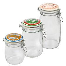 Retro Glass Storage Jar Metal Clamp Airtight Silicone Seal Kitchen Food Tea Rice