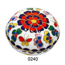 Döschen L, Deko Dose, Kupfer, Cloisonne Emaille, rot, blau, weiß, 0240$