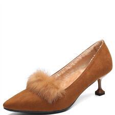 zapatos de salón mujer 6 cm elegantes tacón aguja beige ante como piel 9681